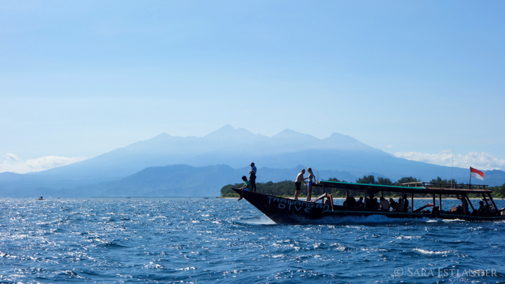 The Trawangan Dive boat, with Mount Rinjani in the background on the Gili Islands