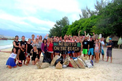 beach clean up on Gili Trawangan