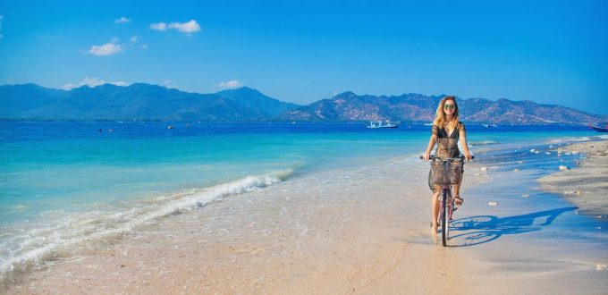 cycling on the beach of Gili Air