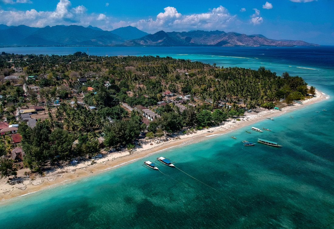 Drone shot Gili Islands Indonesia
