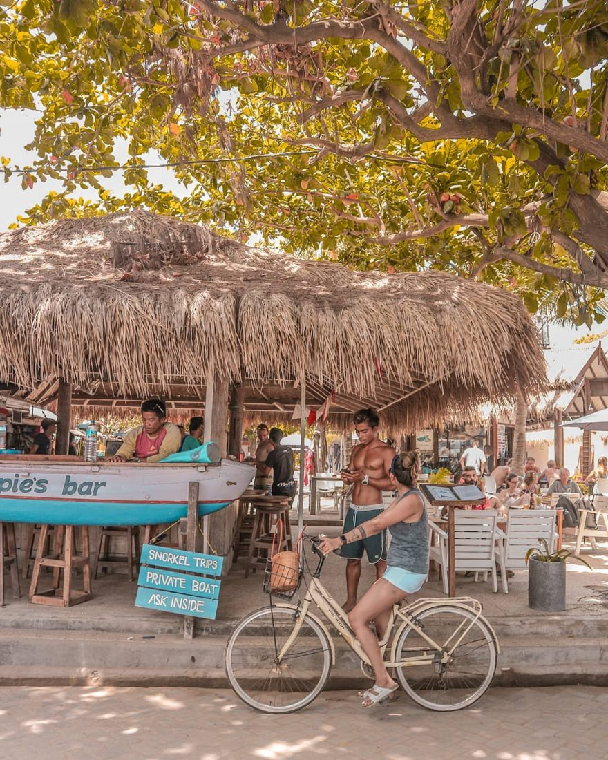 Chappy's bar located next to Manta Dive school on Gili Trawangan, has that beachy rustic feel.