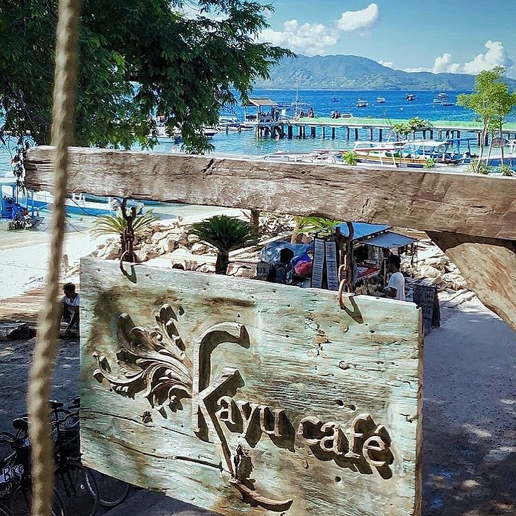 Kayu Cafe is located right on the beach.